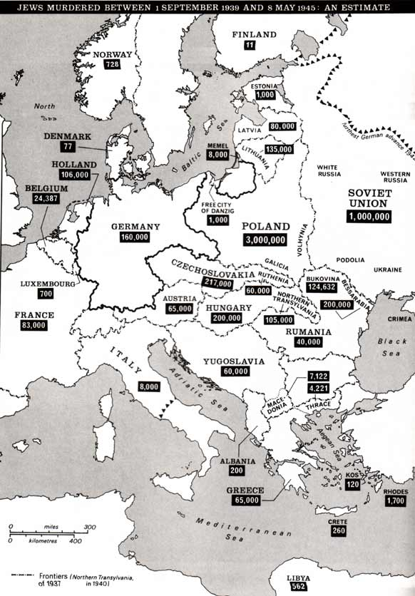 Jews murdered between 1 September 1939 and 8 May 1945: an estimate; map
